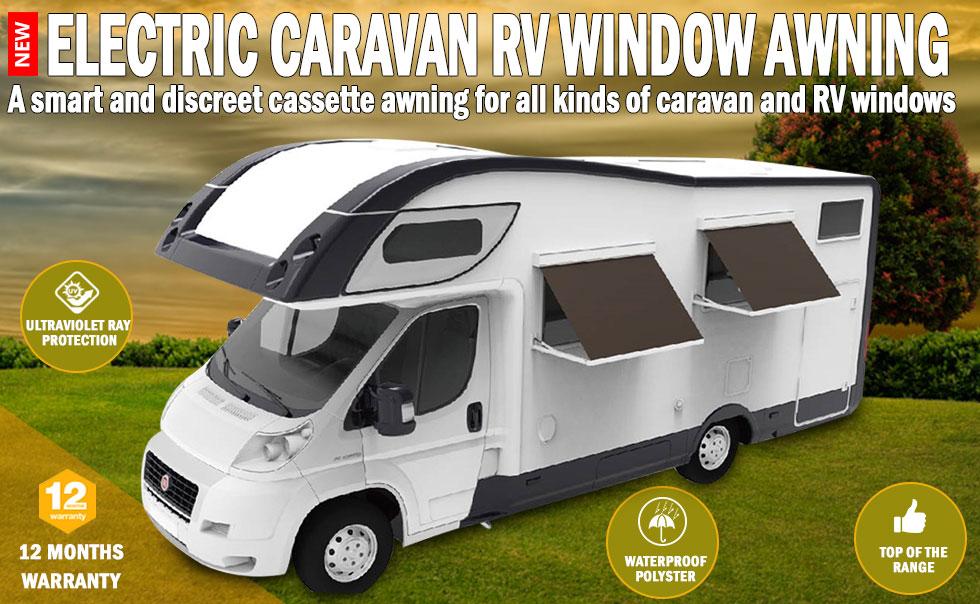 New Electric Caravan Rv Window Awning 1m Wide Italian ...