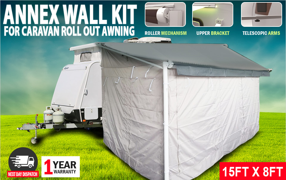 Details about 15Ft Annexe Wall Kit for Caravan Roll Out Awning, Carefree,  Dometic, Werada