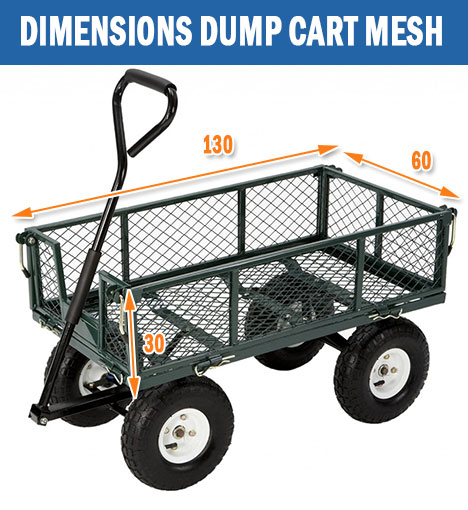 New 48 400kg Steel Garden Cart Folding Mesh Sides Trolley