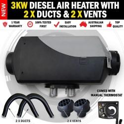 3KW Belief Caravan Diesel Air Heater 2 x Vents and Ducts RV Bus & Motorhome
