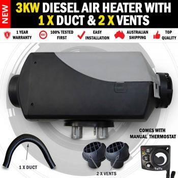 3KW Belief Caravan Diesel Air Heater 2 x Vents 1 x Duct RV Bus & Motorhome