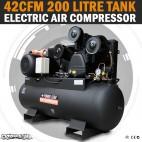 Large Commercial Air Compressor 200 Lt Tank 42CFM 3 Cylinder 10HP, 3 Phase