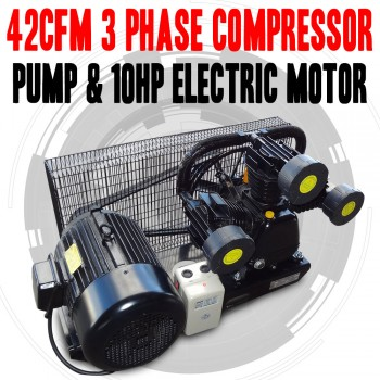 42CFM , 3 PHASE COMPRESSOR PUMP & 10hp ELECTRIC MOTOR FULL SETUP MINUS TANK