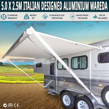 Caravan Awning Roll Out 5.0m x 2.5m NEW Italian Designed Aluminium Wareda