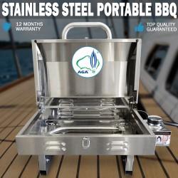 Euro-Grand MARINE BBQ Portable Boat Gas Barbeque Stainless Steel Caravan BONUS HOTPLATE