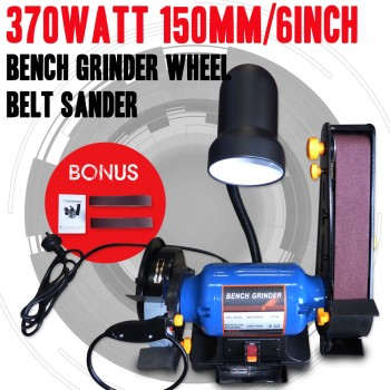 150mm/6inch Bench Grinder Linisher Sanding Grinding Wheel Belt Sander 370Watt