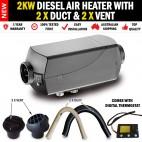2KW Belief Diesel Air Heater 1 ADJ vent 1xFlat Vent and 2 x Duct Digital Thermostat Caravan RV Bus