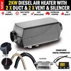 2KW Diesel Air Heater 2 x Vents and Duct Digital Thermostat Caravan RV Buses