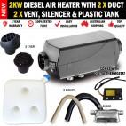 2KW Caravan Diesel Air Heater 2 x Vents, Duct, Silencer 10L Tank Digital Thermostat