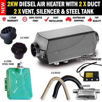 2KW Belief Caravan Diesel Air Heater 2 x Vents, Ducts and Metal Tank Digital Thermostat RV Bus