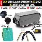 2KW Diesel Caravan Air Heater 2 x Vents, Duct and 6L Tank Digital Thermostat RV Bus