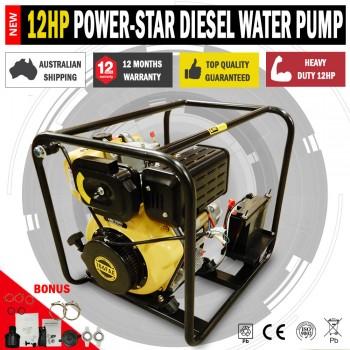 Power-Star 12HP Diesel High Pressure Water Transfer Pump Key Start Battery