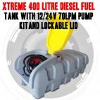 Xtreme 400 Litre Diesel Fuel Tank With 12/24v 70lpm Pump Kit, Lockable Lid