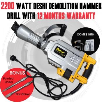 2200 Watt DESHI Demolition JackHammer 12 Months Warranty