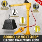 Electric Hoist Winch Crane 800kg 12V 360 Degree Engine Car Truck Lift