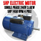 NEW Single Phase 240v 5hp Electric Motor Single Phase 1400 rpm 4 pole 4KW