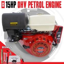 ELECTRIC START 15HP OHV STATIONARY PETROL ENGINE HORIZONTAL SHAFT