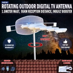 Rotating Outdoor Digital TV Antenna Remote Aerial HDTV UHF VHF Rv, Caravan