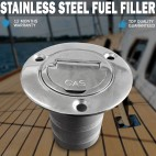 "Boat Deck Fill / Filler Keyless Cap -2"" Fuel- Marine 316 Stainless Steel"
