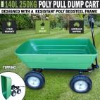 140L 250kg Poly Pull Dump Cart Hand Trailer Wagon Wheelbarrow Tipping