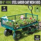 """48"""" 400kg Steel Garden Cart Folding Mesh Sides Trolley Farm Wagon Trailer"""