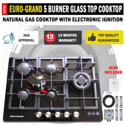 NEW 75cm Black Glass Top 5 Burner Gas Cooktop Wok Burner Hob Cast Iron Trivets