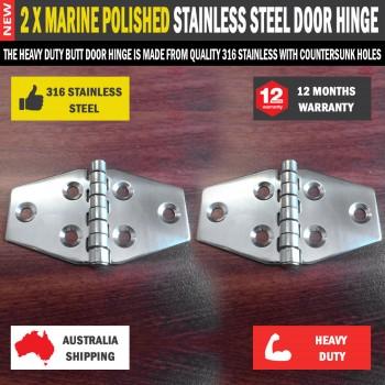 2 x Butt Door Hinge 71x40mm 316 Marine Polished Stainless Steel for Caravan