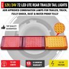 NEW JUMBO 12V/24V 72 LED Trailer Tail Lights Indicator Lamp For Caravan Truck