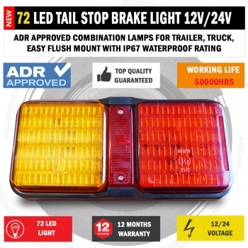 72 LED Tail Stop Brake Light Waterproof Boat Trailer Caravan Bar 12V/24V