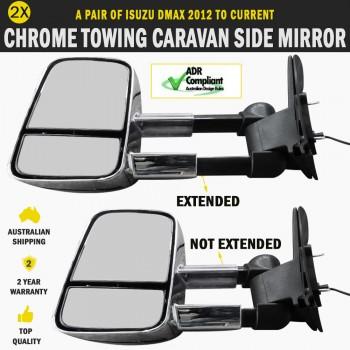 Electric Chrome Towing Caravan Side Mirror Pair Isuzu DMAX 2012 To Current Indicators