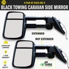 Black Towing Caravan Side Mirror Pair Isuzu MU-X With Indicators