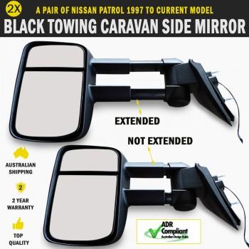 Black Electric Towing Caravan Side Mirror Pair Nissan Patrol 1997 to Current