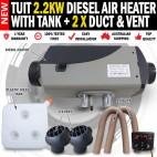 Tuit 2.2KW Diesel Air Heater Tank 2 x Vent 2 x Duct Caravan Motorhome RV