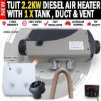 Tuit 2.2KW Diesel Air Heater Tank 1 x Vent 1 x Duct Caravan Motorhome RV