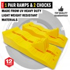 NEW UV Heavy Duty 1 Pair Level Up Caravan / RV 3 Multi Level Ramps & 2 Chocks
