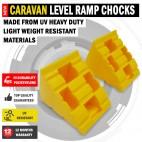 NEW Heavy Duty UV Resistant. Caravan Leveling Level Hi Durability Ramp Chocks