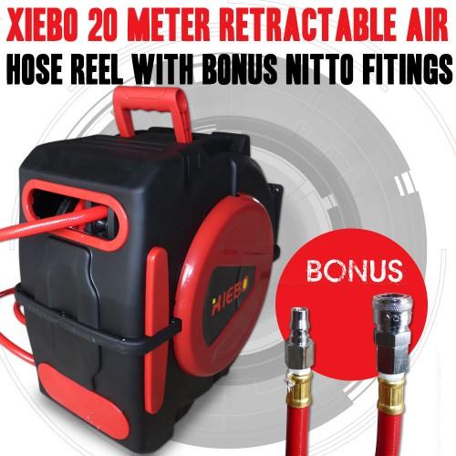 Xiebo 20M Retractable Air Hose Reel Bonus Nitto Fittings Compressor