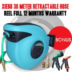 Top Quality XIEBO 30 Meter Retractable Water Hose Reel, Bonus Brass Fittings