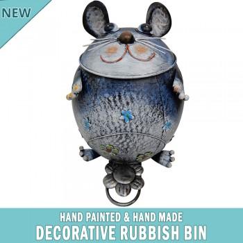 Cat Decorative Garden Garbage Trash Bin Hand Made & Painted