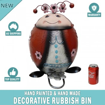 Lady Bug Decorative Garden Garbage Trash Bin Hand Made & Painted