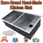 EURO-GRAND HANDMADE STAINLESS STEEL KITCHEN SINK 2 BOWL