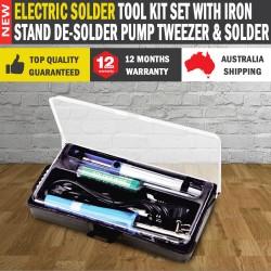 Electric Solder Tool Kit Set With Iron Stand De-solder Pump Tweezer & Solder