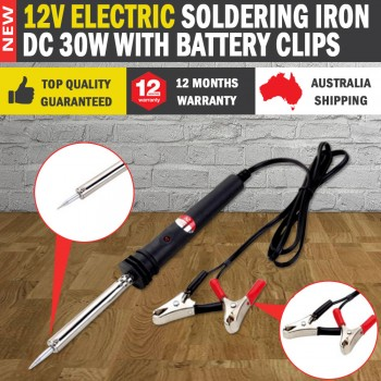 Electric Soldering Iron 12V DC 30W with Battery Clips