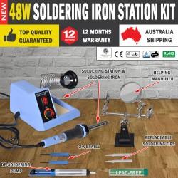 Soldering Iron Station Kit Desoldering Pump Helping Hand Adjustable