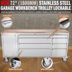 "72"" 1800mm Stainless Steel Garage Workbench Tool Trolley Lockable"