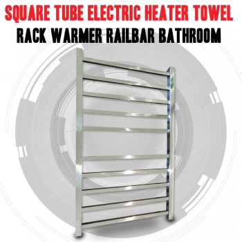 Square Tube Electric Heated Towel Rack Warmer Rail Bar Bathroom Australian Approved