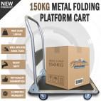 150KG Heavy Duty Fold Platform Cart Moveable Dolly Push Hand Truck Trolley