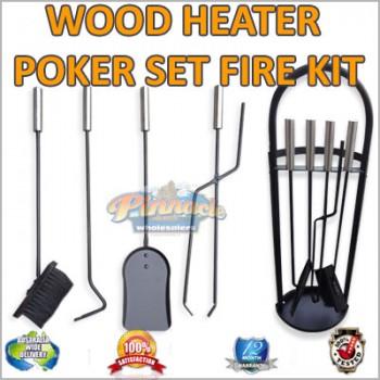 Wood Heater Poker Set Fire Shovel and Brush